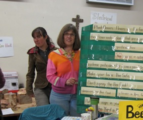 "Melissa Hochstetler and Judy Chucker ""tabling"" at  the Mennonite Sustainability Fair"