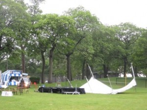 One of the tents collapsed due to wind at the Art on the Lake event.